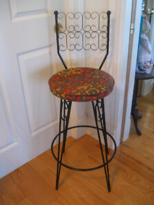 ATTRACTIVE WROUGHT-IRON BACKED SWIVEL STOOL with PADDED SEAT