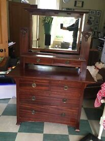 Antique solid wood dressing table Arts and Crafts shape and carving