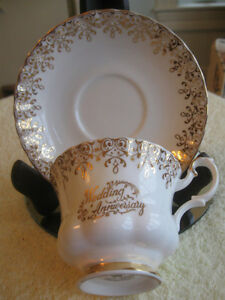 2 VINTAGE ROYAL ALBERT WEDDING ANNIVERSARY CUPS & SAUCERS