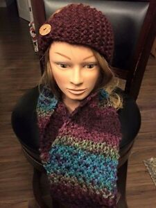 Hand knitted scarves and head warmers !