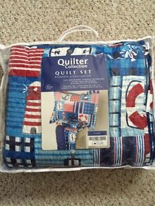 Boy's twin quilt with pillow sham