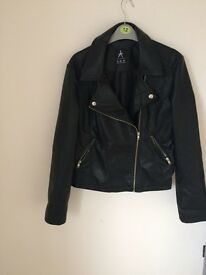 Black faux leather biker jacket size 12