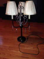 Lamp with three shades and crystals great condition