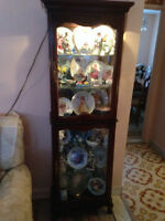 #13 Lamp lit Curio Cabinet filled with collector plates