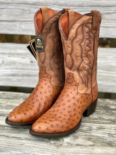 Dan, Post, Mens, Saddle, Brown, Full, Quill, Ostrich, Round, Toe, Western, Boots, DP2323