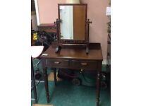 Vintage antique dark wood mirror hall stand bathroom dressing table hinged