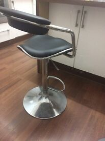Black Leather Bar Stool With Adjustable Height - Very Good Condition