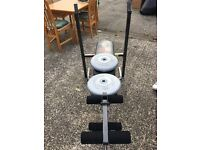 Weights bench plus over 120kg weights