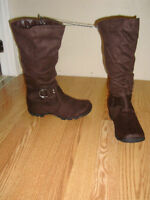 Brand New Brown Suede Winter Tall Boots Size 9 Adult! $40