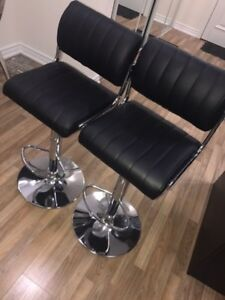 $180 FOR 2 BRAND NEW BLACK LEATHER BAR STOOLS