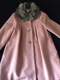 Girls Pink coat with fur collar by John Lewis