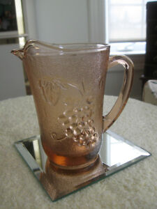 GORGEOUS OLD VINTAGE GRAPE-DESIGNED TINTED-GLASS CREAMER
