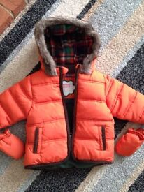 M&S 3-6 months coat with mittens excellent baby boy clothes