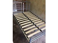 Double bed metal frame silver