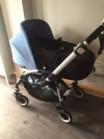 Bugaboo bee plus with Black carrycot and bee 3 ice blue hood extendable hood ex cond