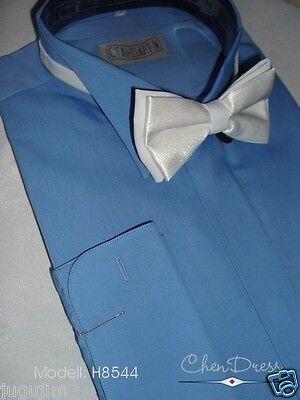 Frackhemd Smokinghemd Herrenhemd Kläpchenkragen Hemd Blau