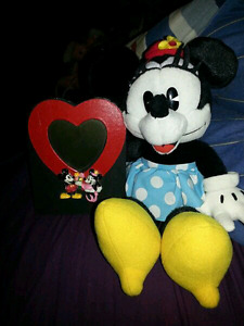 Minnie mouse plush and Mickey and Minnie mouse picture frame