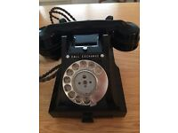 Antique black bakelite Old phone with pull out drawer .