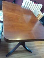 Hardwood Dinning Table, Chairs, Buffet and Hutch