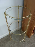 Accent Table -- 3 tier, metal frame, glass shelves