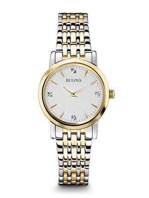 BULOVA LADIES SILVER DIAL TWO TONE STAINLESS STEEL WATCH 98P115