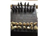 GOOD SIZED RESIN CHESS SET AND BOARD - EXCELLENT CONDITION