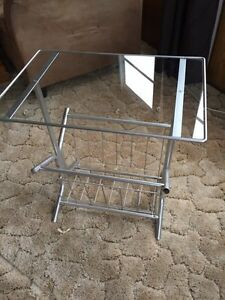 Glass top newspaper stand and wooden end table
