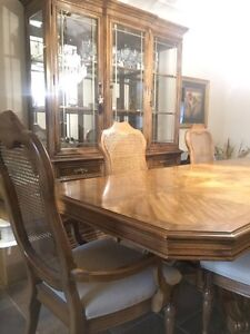 Solid QUALITY HUTCH, DINING TABLE, 6 CHAIRS