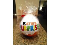 Giant personalised present filled egg