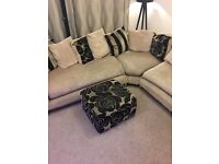 Large 6 seater corner sofa and footstool