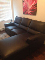 Dark Grey Leather Couch With Recliner Seats!! LIKE NEW!