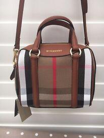 Burberry Tartan And Leather Bag