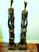 """TRIBAL large 49""""H Double Stacked carved HIS / HERS floor statues"""