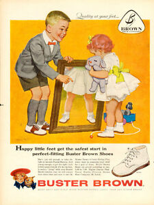 1958 full page vintage color ad for Buster Brown Shoes