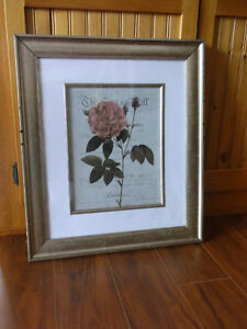 Pink Rose Painting in Frame