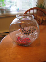 Glass Fish Bowl ( 1 Gallon) with 1 Fake Plant and Gravel $10