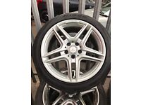 """GENUINE ORGINAL MERCEDES 18"""" AMG TWIN SPOKE ALLOYS WHEELS WITH 4 NEARLY NEW TYRES- QUICK SALE"""
