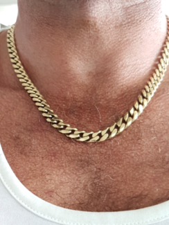 Mens solid 9ct yellow gold chain