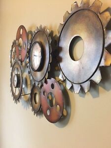 "3D metal wall clock 33""x18"""