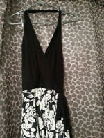Printed Lace Crossover Halter Dress(SIZE M)