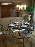 WROUGHT IRON DINING TABLE WITH 6 CHAIRS