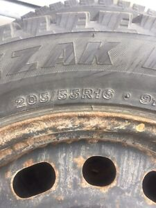 4- P205/55R16 snow tires on rims Sarnia Sarnia Area image 3