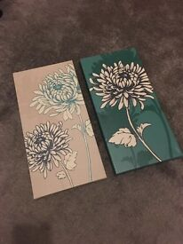 Two flower canvases