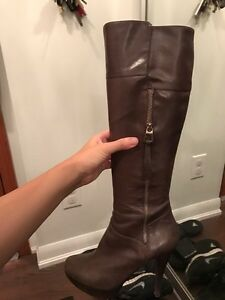 Sexy brown leather guess knee high boots  - size 7