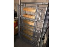 Double metal and wooden bed frame