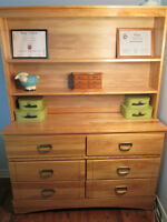 Wood Dresser with Hutch and Matching Nightstand