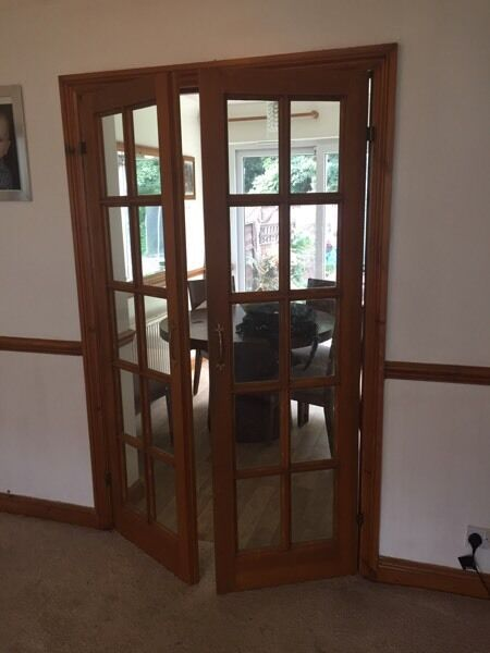 Internal solid wood French doors.