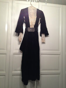 Antique Black White Lace Rare Dress Display Designer Old Fashion