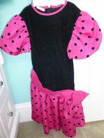 Girl's pretty pink & black polka dotted velvet dress, size 8