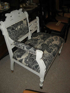 ack settee painted white with new Toile fabric
